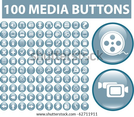 100 media glossy buttons. vector - stock vector