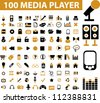 100 media & music player icons set, vector - stock vector