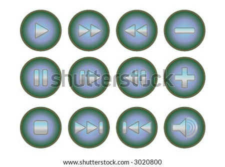 12 media player buttons (design elements) - stock vector