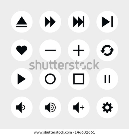 16 media player control button ui icon set 06. Black pictogram on white circle button. Solid plain monochrome flat tile. Simple contemporary modern style. Web design element vector illustration 8 eps - stock vector