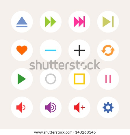 16 media player control button ui icon set. Color on white. Set 06. Simple circle sticker internet sign. Solid plain color flat tile. Newest metro style. Vector illustration web design elements 8 eps - stock vector