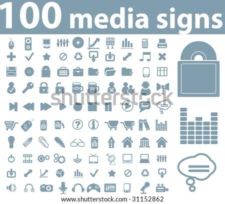 100 media signs. blue series. vector - stock vector