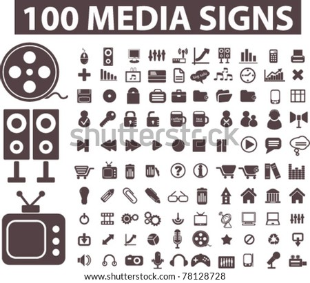 100 media signs, icons, buttons, vector - stock vector