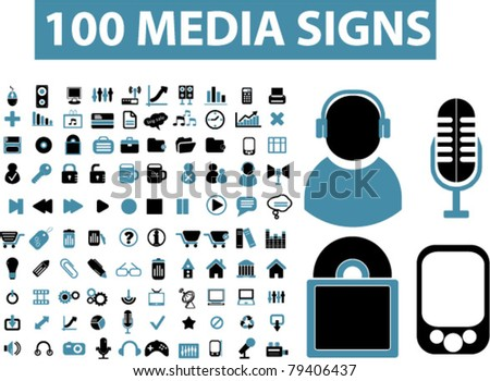 100 media signs, vector - stock vector