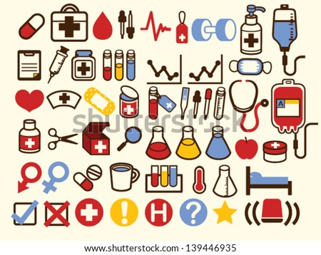 50+ Medical and Healthcare Icon - Vector File EPS10 - stock vector