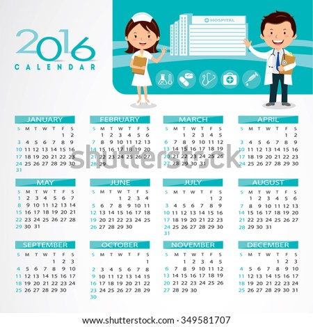 2016 Medical Calendar Doctor Nurse Gesturing Stock Vector ...