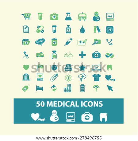 50 medical, health, hospital icons, signs, illustrations set, vector - stock vector