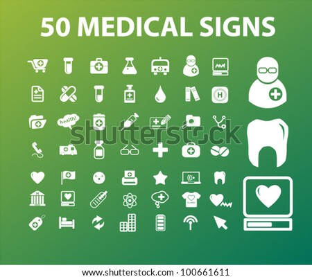 50 medical & health icons signs, vector - stock vector