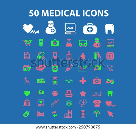 50 medical, hospital, healthcare flat icons, signs, illustrations design concept vector set - stock vector