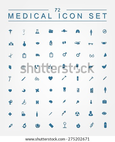 72 medical icons for web, internet, computer, mobile apps, interface design: medicine personal, nurse, doctor, pill, thermometer, health, pharmacy, hospital, ambulance symbol - stock vector