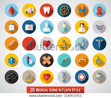 30 Medical Icons in Flat Style - stock vector