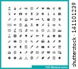 100 medical icons. Vector black pictograms for web, internet, computer, mobile apps, interface design: medicine personal, nurse, doctor, pill, thermometer, health, pharmacy, hospital, ambulance symbol - stock vector