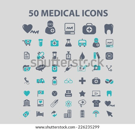 50 medical, medicine, health, doctor, hospital icons, signs, illustrations set, vector - stock vector