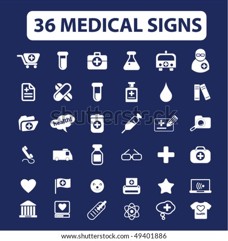 36 medical signs. vector - stock vector
