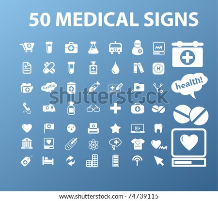 50 medical signs, vector - stock vector
