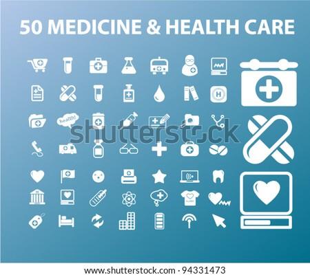 50 medicine & health care icons set, vectr - stock vector
