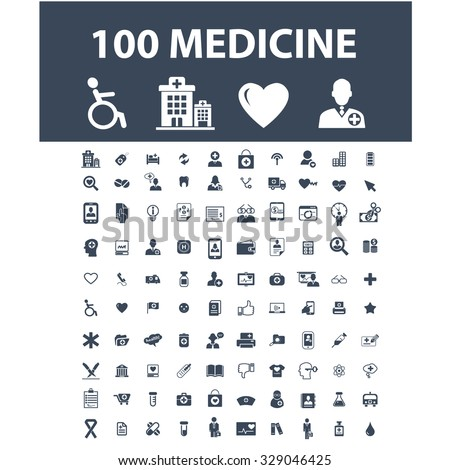 100 medicine, health care, insurance, pharmacy, hospital icons - stock vector