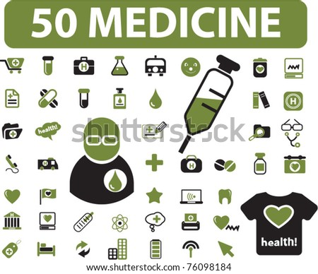 50 medicine & health icons, signs, vector illustrations - stock vector