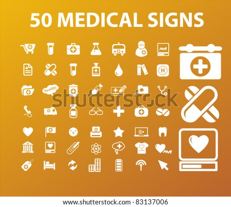 50 medicine & health icons, signs, vector illustrations set