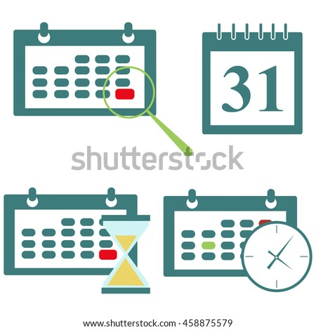 Meeting Deadlines, modern flat icon vector illustration.a set of calendars with a clock and a magnifying glass, hourglass. - stock vector