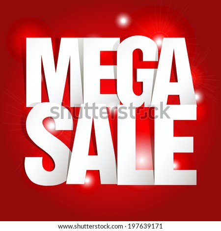 Mega Sale Paper Folding Design  - stock vector