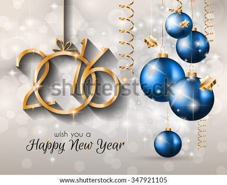 2016 Merry Christmas and Happy New Year Background for Seasonal Greetings Cards, Parties Flyer, Dinner Event Invitations, Xmas Cards - stock vector