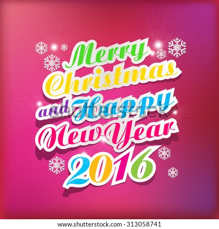 2016 Merry Christmas and happy new year background with paper folding design  - stock vector