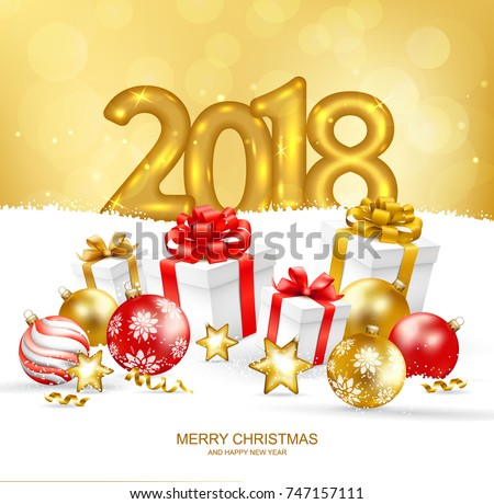 2018 merry christmas happy new year stock photo photo vector 2018 merry christmas and happy new year card with christmas balls and gift boxes on snow m4hsunfo Images