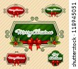 -Merry Christmas-, Creative label. Vector Illustration - stock vector