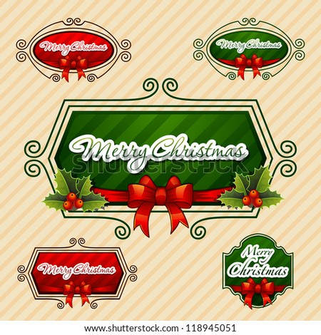 -Merry Christmas-, Creative label. Vector Illustration - stock vector