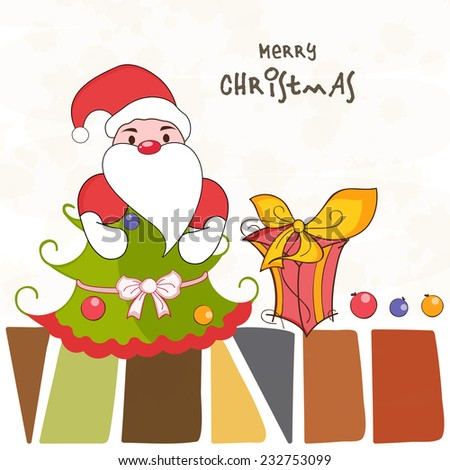Merry Christmas greeting card decorated with cute Santa Claus, X-mas tree and gift box on stylish background. - stock vector