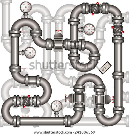metallic pipeline with transparent elements. - stock vector