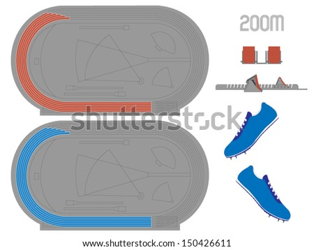 200 Meters Running Track in Red and Blue - stock vector