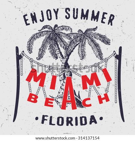 38 miami beach enjoy summer florida stock vector 314137154 for T shirt printing miami fl