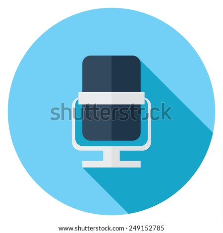 Microphone flat icon. Modern flat icons with long shadow effect in stylish colors. Icons for Web and Mobile Application. EPS 10. - stock vector