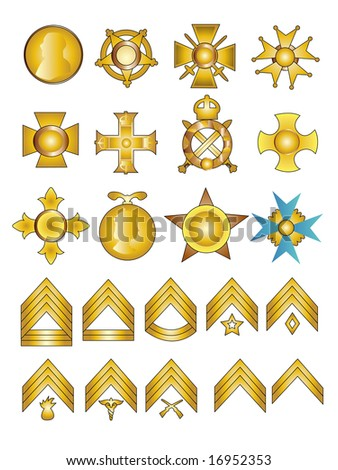20 Military Badges Medals and Rank Chevrons Vector Illustration in Gold - stock vector