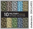 10 Military camouflage pattern. Collection of seamless patterns background. - stock photo