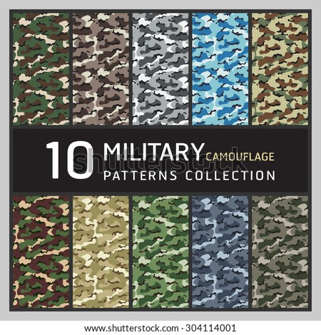 10 Military camouflage pattern. Collection of seamless patterns background. - stock vector
