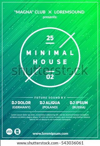"""Minimal house"" party poster. Futuristic flyer design. Abstract background with line shapes in motion. Eps10 vector template."