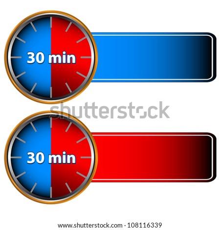 30 minutes labels - stock vector