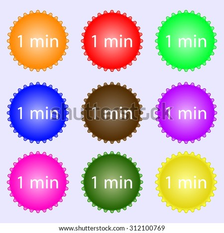 1 minutes sign icon. A set of nine different colored labels. Vector illustration