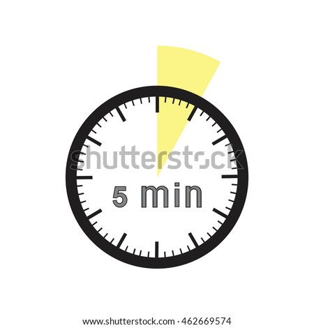 5 minutes timer office clock with yellow 5 min segment