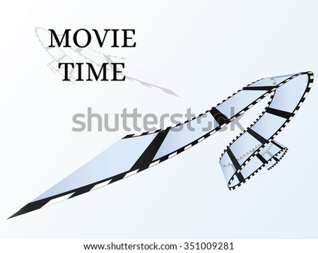 "35mm Film roll. Realistic 3D image. Old film strip. Light Background ""Movie Time"". Vector illustration. - stock vector"