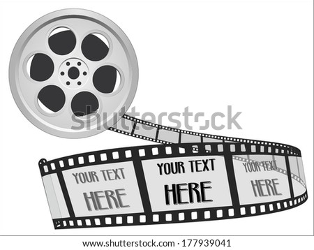 55mm movie film strip. Cinema Film Roll isolated on white background. your text here space. vector illustration twisted filmstrip against abstract vector art image illustration eps10 grayscale retro - stock vector
