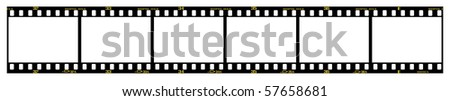 35mm slide/positive frames in filmstrip, with details and accurate dimension. - stock vector