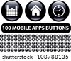 100 mobile apps black glossy buttons, icons set, vector - stock vector