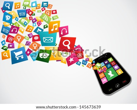 Mobile computer apps icon set concept background. Vector illustration layered for easy manipulation and custom coloring.