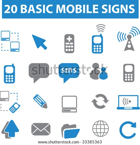 20 mobile connection signs. vector