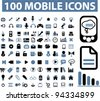 100 mobile icons, vector - stock