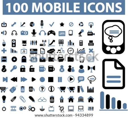 100 mobile icons, vector - stock vector